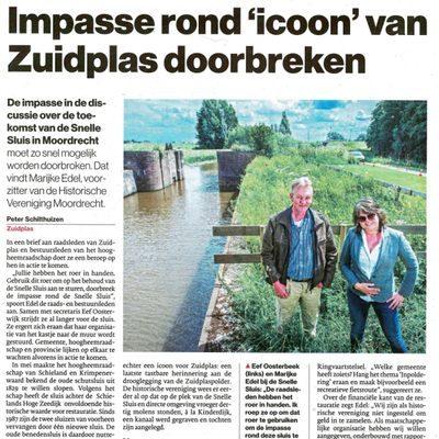 Historische Vereniging Moordrecht - Doorbreek impasse Snelle Sluis - artikel in AD