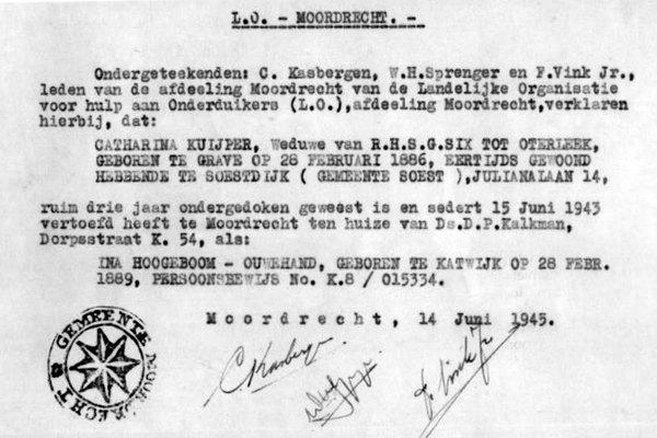 Historische Vereniging Moordrecht: postume onderscheiding voor predikantenechtpaar Kalkman.