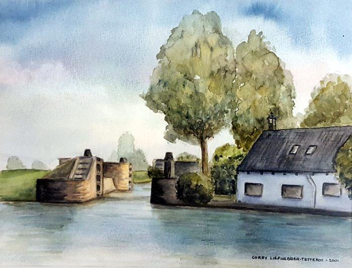 Aquarel van de Snelle Sluis (Corrie Liefhebber-Tetteroo, 2001).