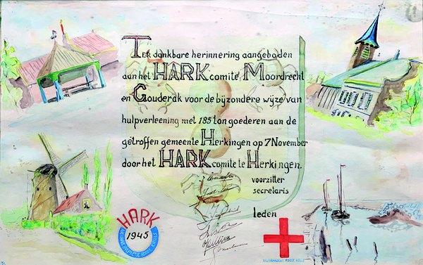 Moerdregt - Dankbetuiging Herkingen voor hulpactie vanuit Moordrecht en Gouderak voor de slachtoffers van de inundatie.