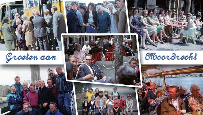 Historische Vereniging Moordrecht - fotocollage Moordechtenaren op reis. Collage: Dirk Hoogerwaard.